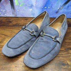 Salvatore Ferragamo Mens Blue Suede Loafers